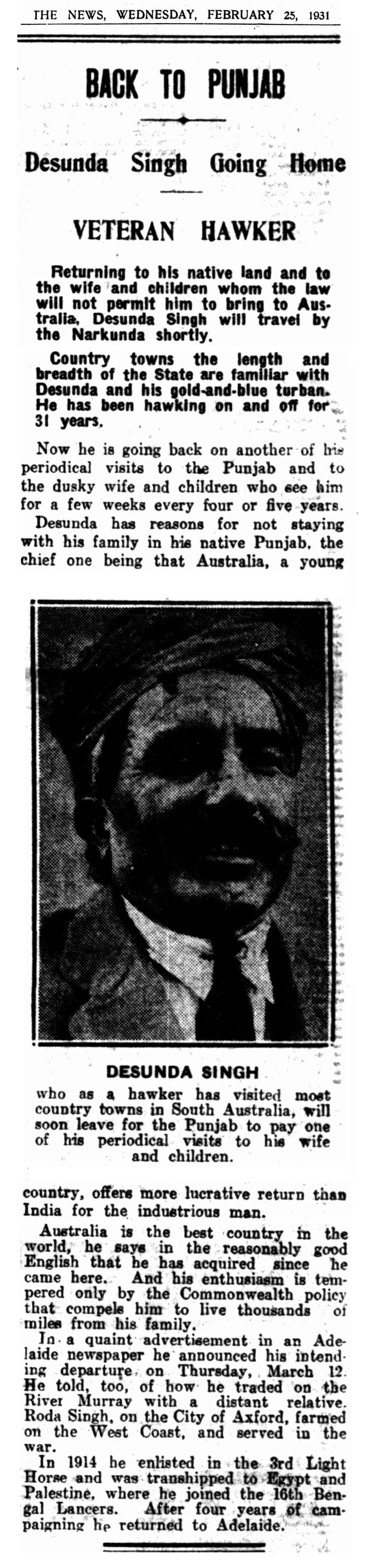 "Article taken from the Wednesday 25 February 1931 edition of ""The News"" a newspaper in Adelaide, South Australia. To see original source please click on link below:  http://nla.gov.au/nla.news-article128998519"