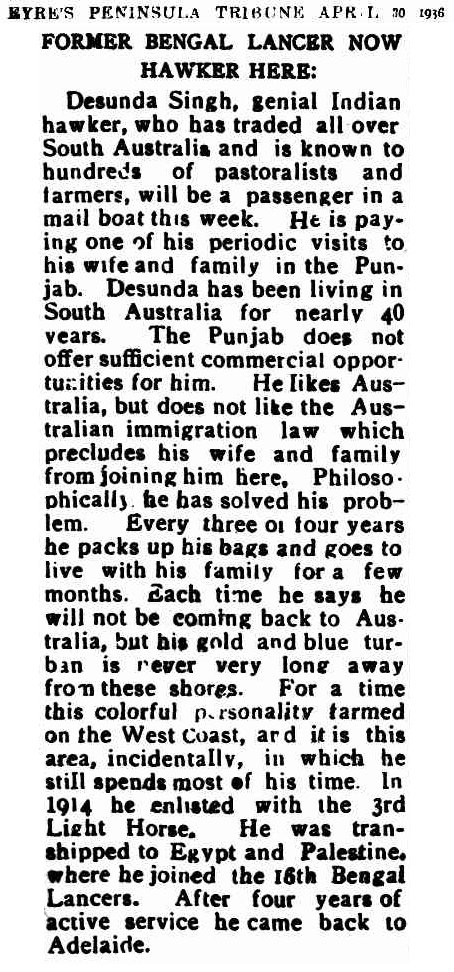 "Article taken from the Thursday 7 May 1936 edition of ""The Eyre's Peninsula Tribune"" a newspaper in South Australia. To see original source please click on link below:  http://nla.gov.au/nla.news-article219473041"