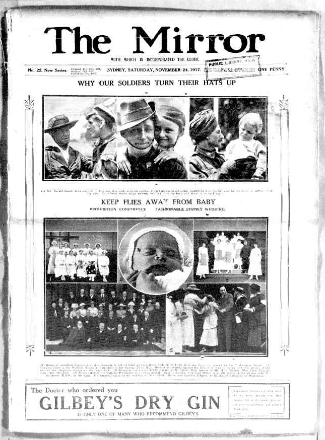 """Photograph taken from the Saturday 24 November 1917 edition of """"The Mirror"""" a newspaper in Sydney. To see original source please click  http://nla.gov.au/nla.news-article116968191"""