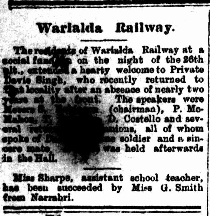 "Article taken from the Monday 4 February 1918 edition of ""Warialda Standard and Northern Districts' Advertiser"" a newspaper in New South Wales. To see original source please click on link below:  http://nla.gov.au/nla.news-article214471277"