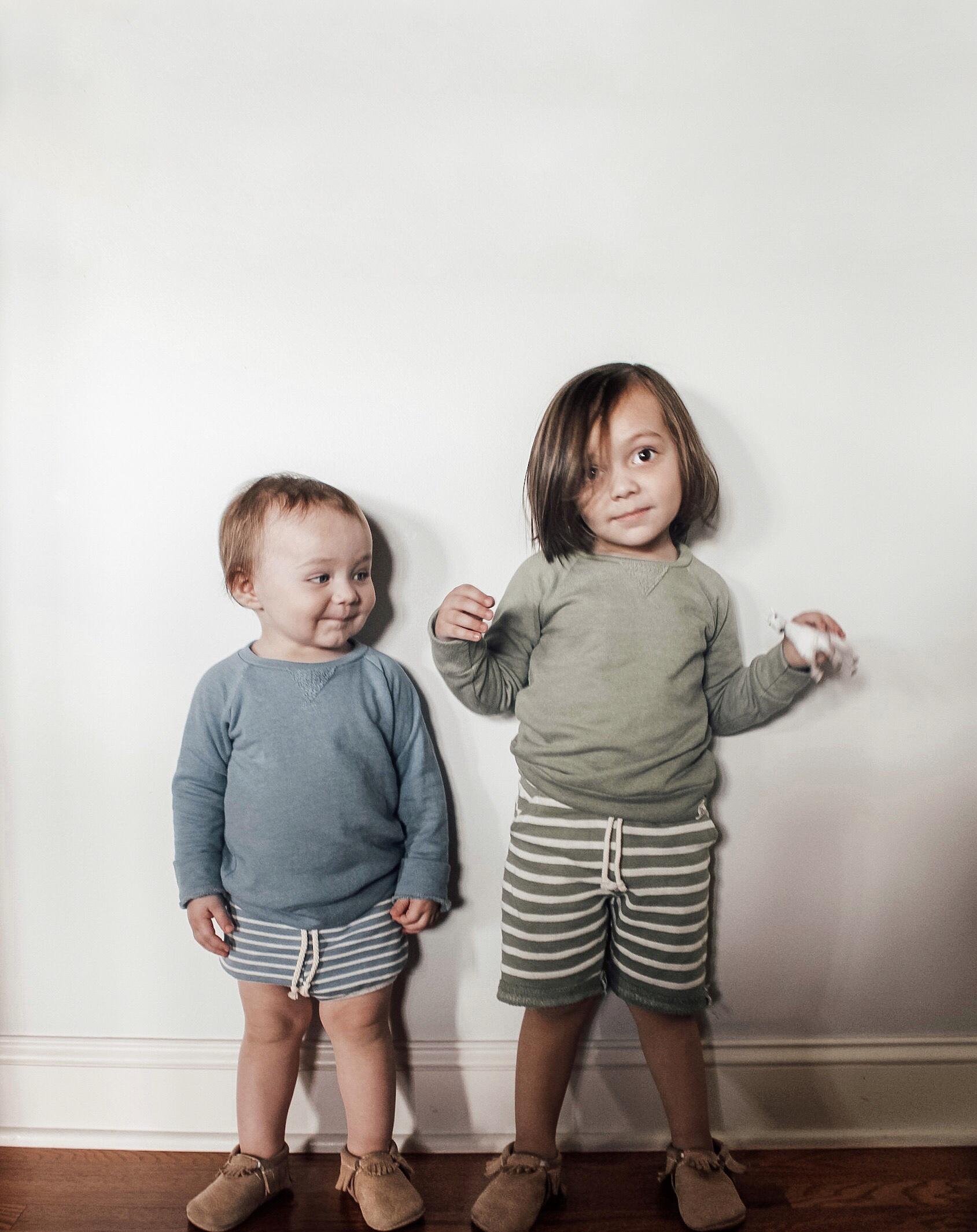 Hudson: L+R Carolina blue striped shorties and crew sweatshirt//Finn: L+R Juniper striped boy shorts and crew sweatshirt