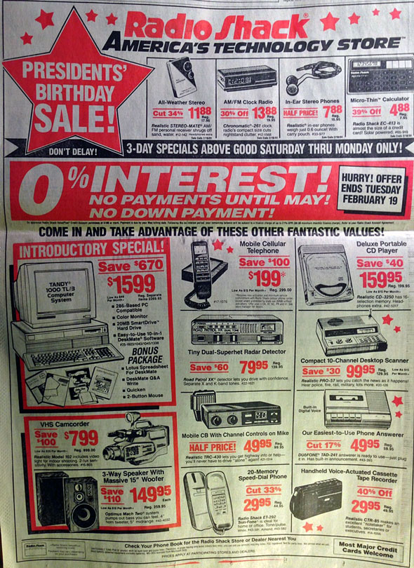 All of the technology on this 1991 RadioShack ad is on your outdated iPhone.