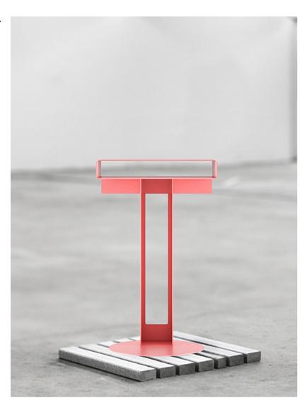 NEW TENDENCY  Meta Side Table, Powder coated steel, 350 × 280 × 580 mm, Germany