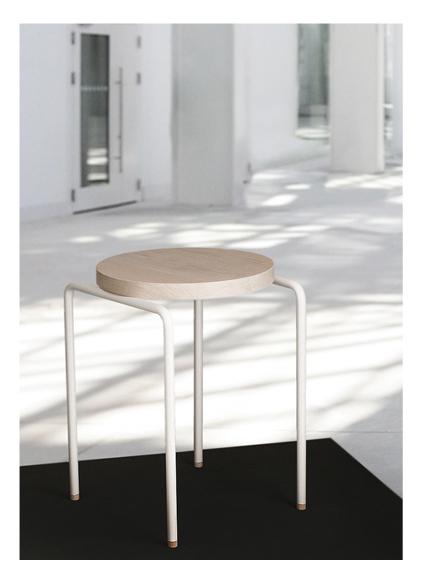 OLGA BIELAWSKA  Circle Meets Square, Stool, Waxed Oak, Powdercoated Metal, 530 x 530 x 450 mm, Germany