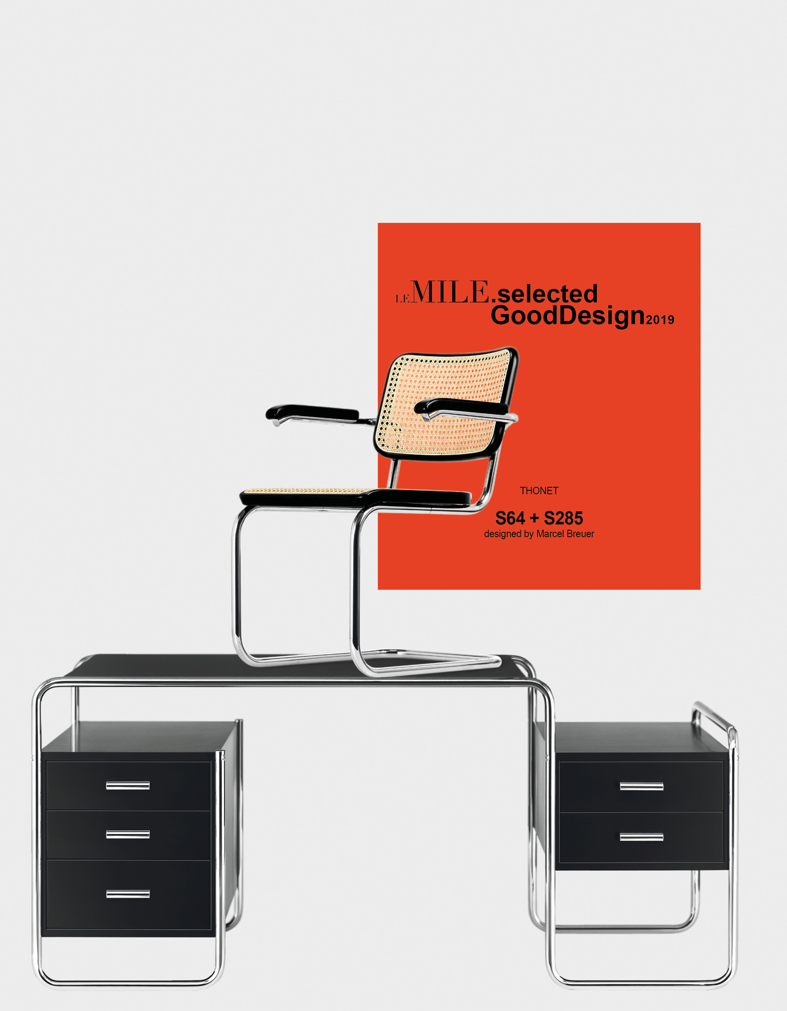 THONET   top_ S 64 Cantilever Chair - buttom_ Tubular Steel Desk S 285, both designed by Marcel Breuer (Originally designed in 1935)