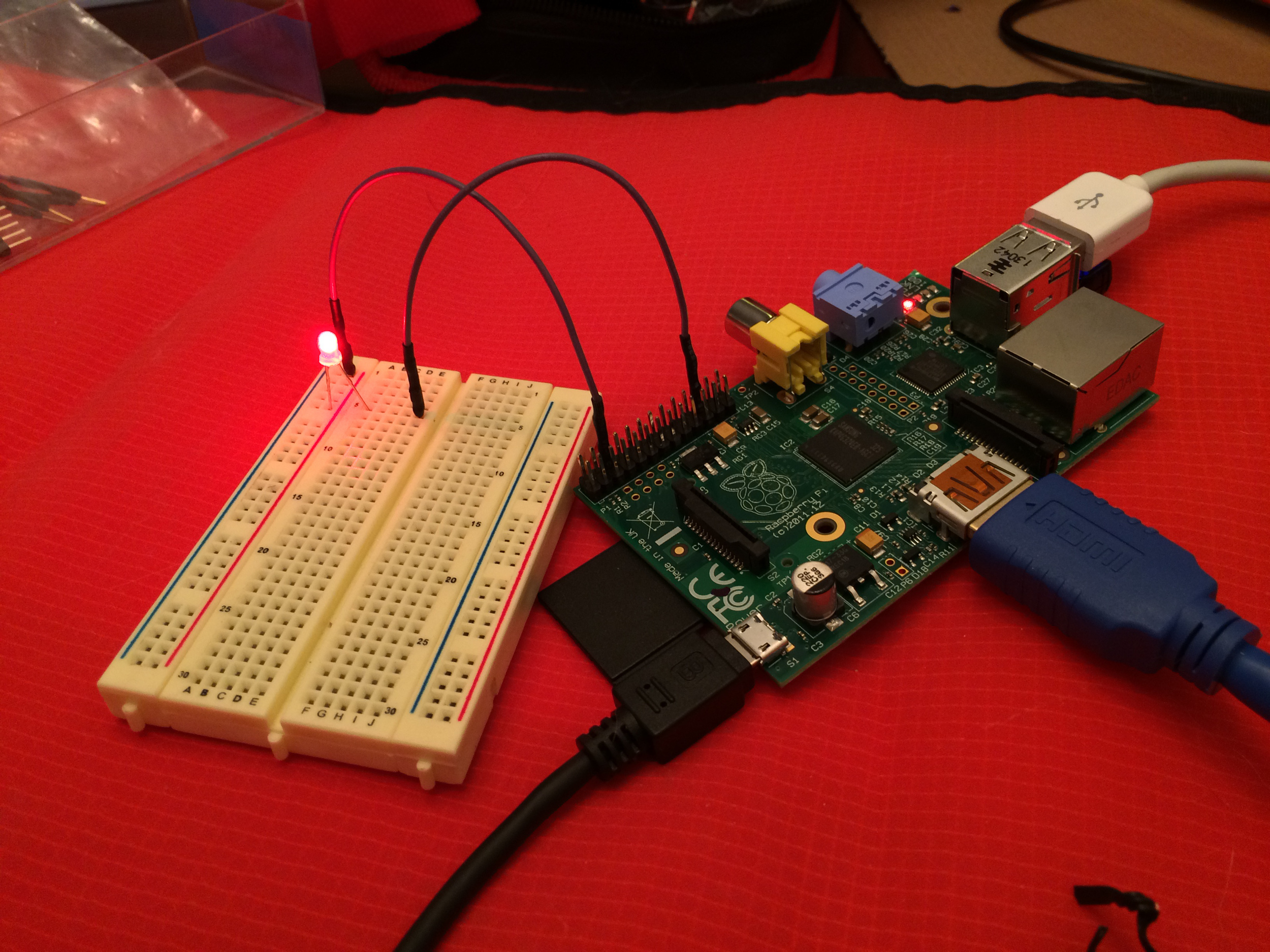 Raspberry Pi controlling an LED with Linux command line