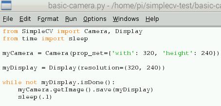 Python code to access the webcam
