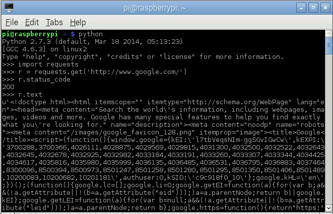 HTML code downloading from google.com
