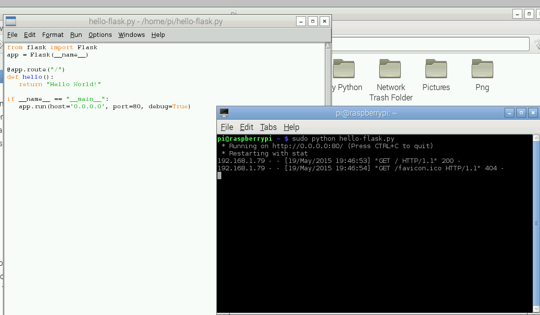 Using Flask to turn the Pi into a WebServer