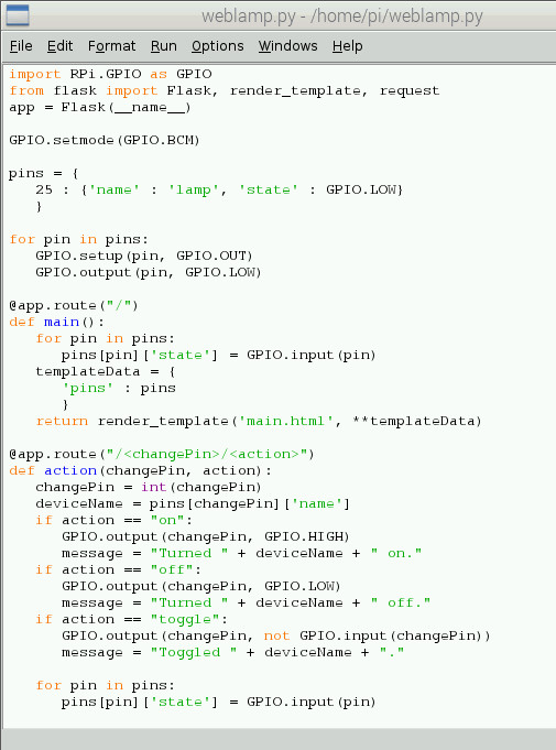 Python Code for Web Lamp