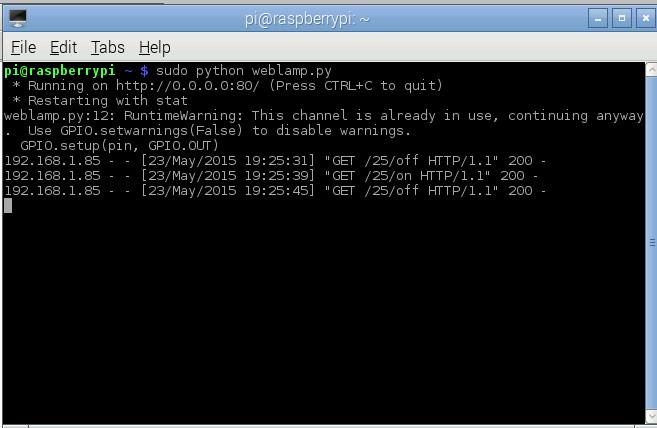 The Pi running the Python Script