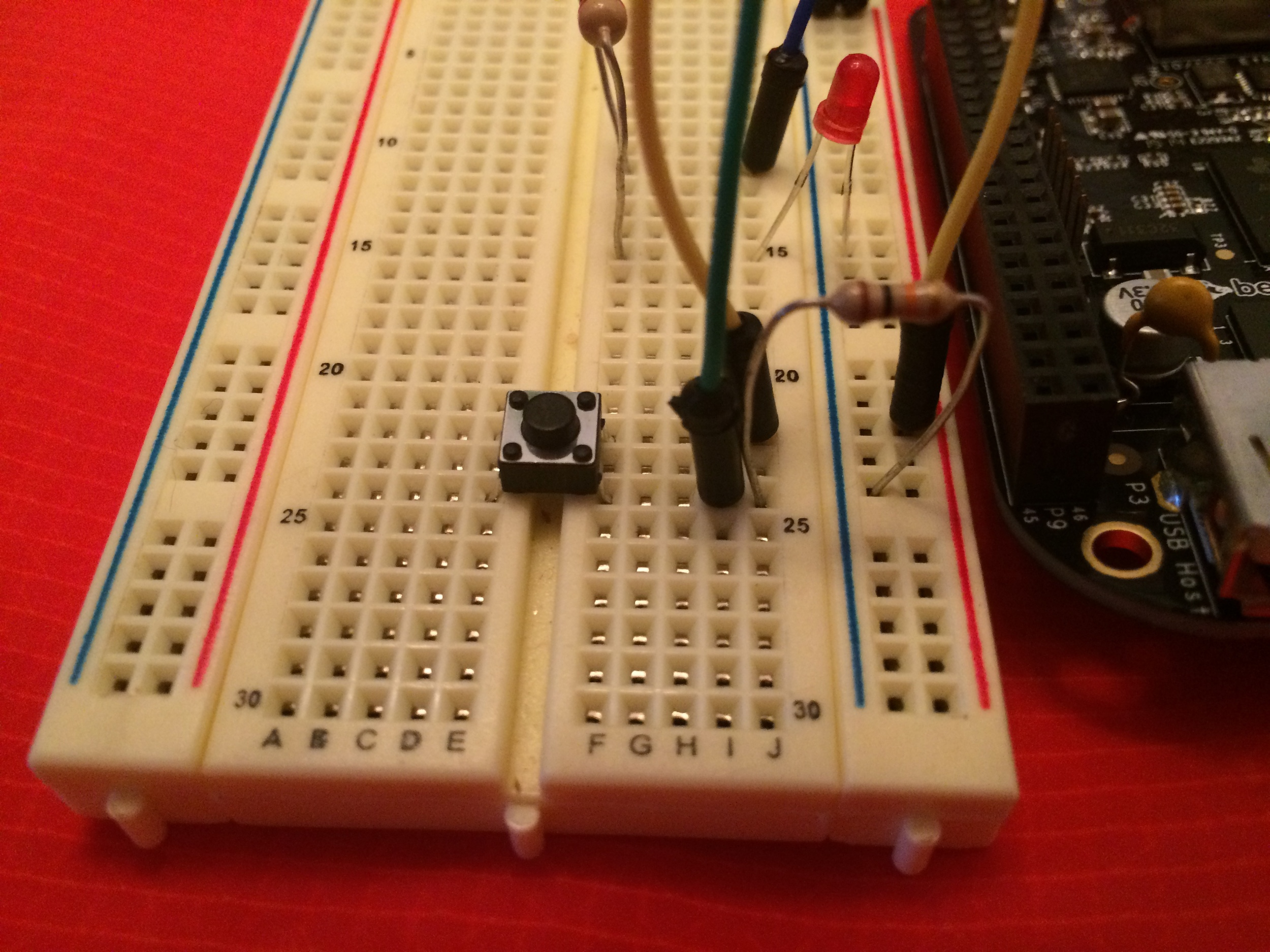 A momentary push button wired to GPIO pin 45
