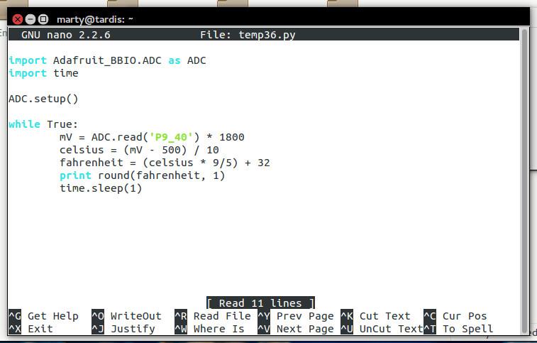 Python code for the temp36 sensor