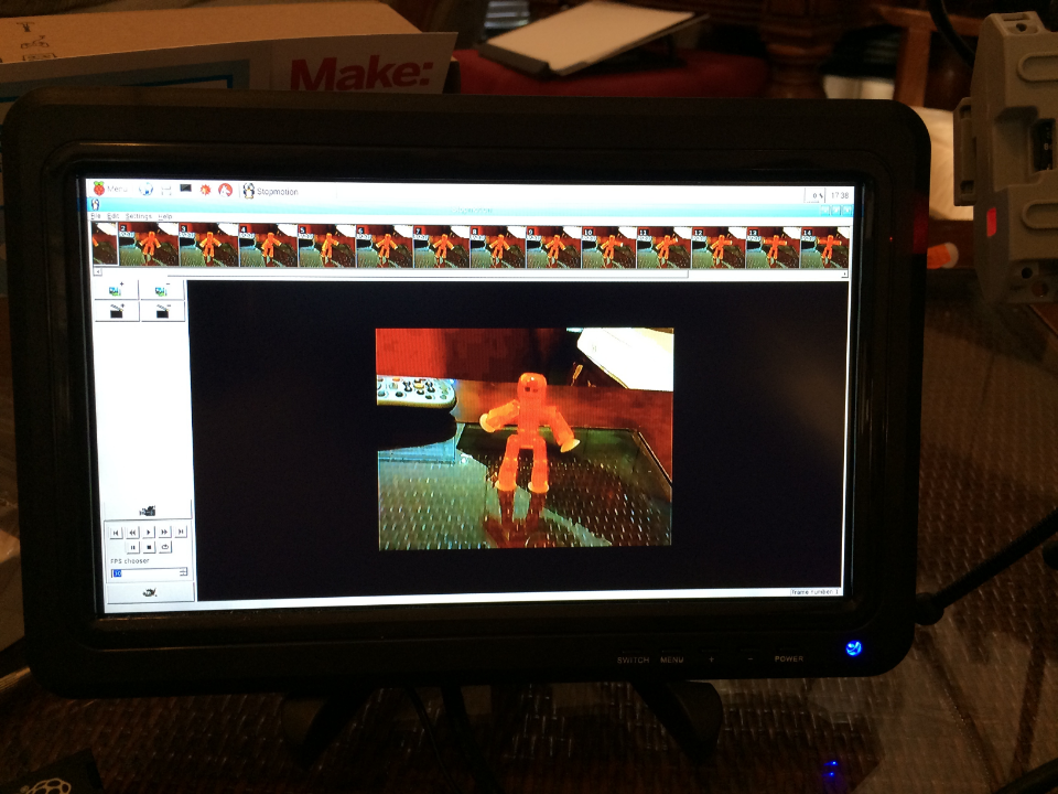 Linux StopMotion running on the Raspberry Pi