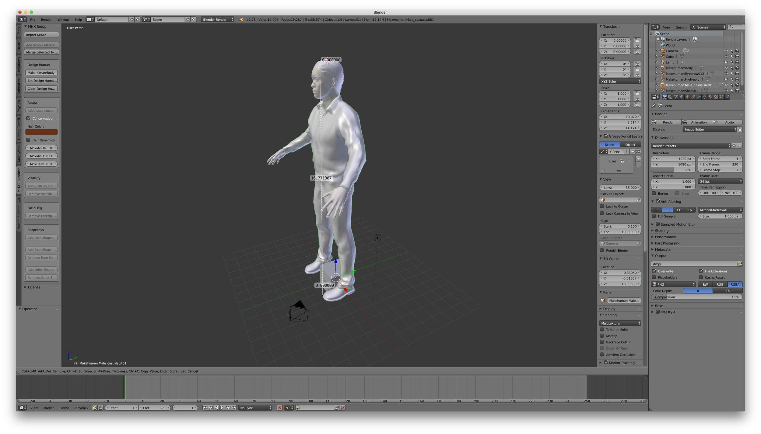 The model was imported at 16.869 Blender units instead of decimeters