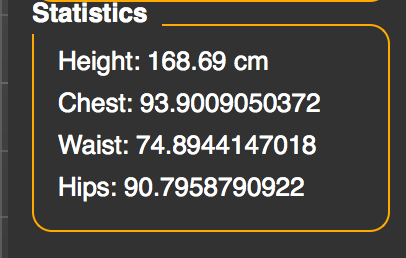 Height of the model is 168.69 cm
