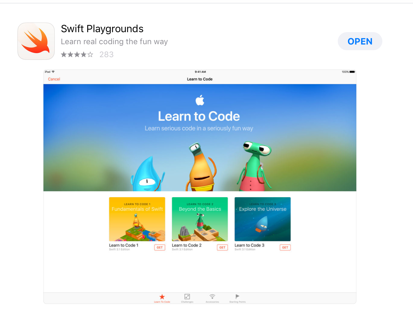 Download Apple's Swift Playgrounds from the App Store