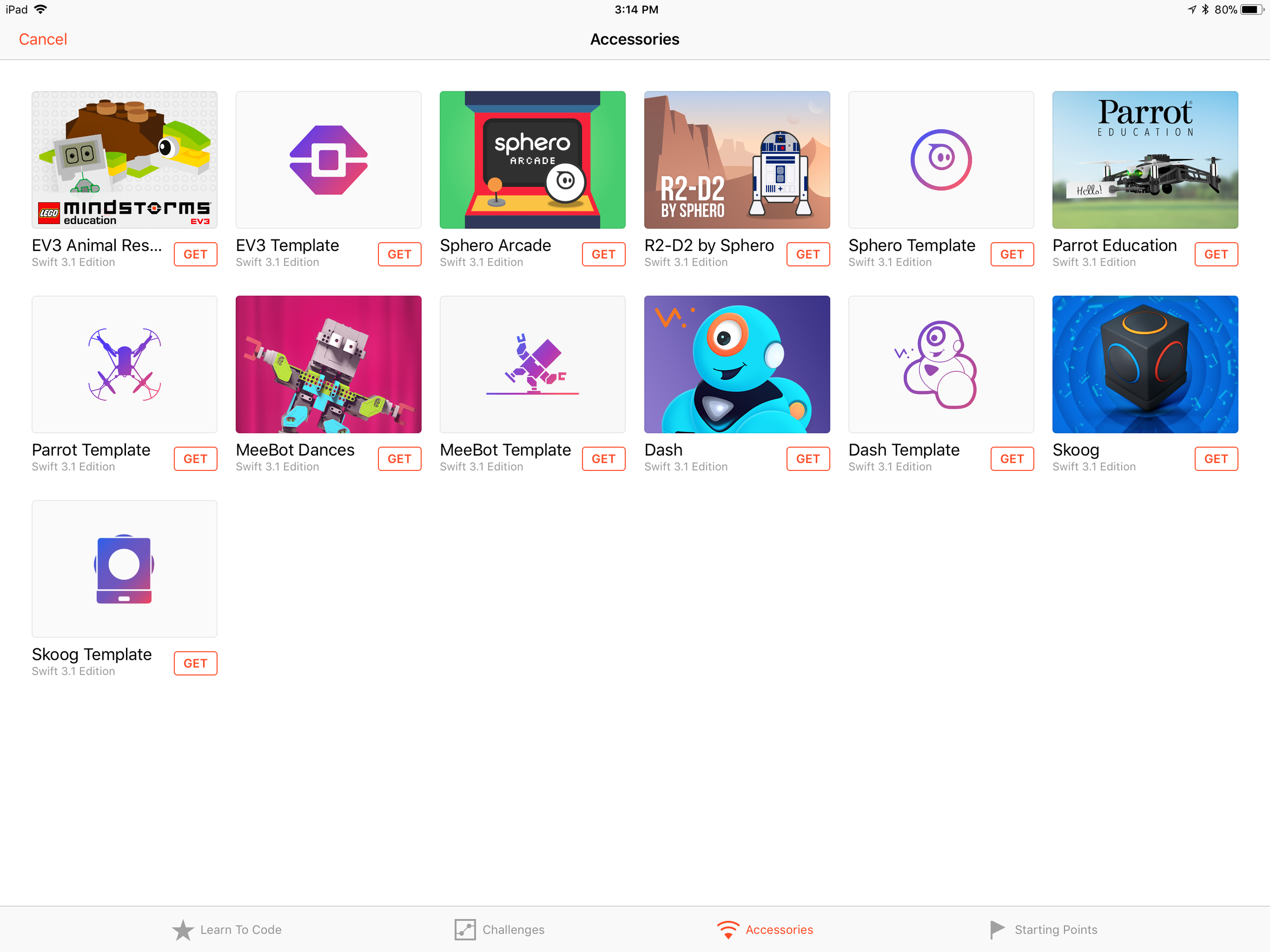 You will find The Droid Inventor Kit is not pre-installed on Swift Playgrounds