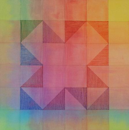 "Origami II Acrylic on Canvas 18.25"" x 18.25"" x 1.5"""