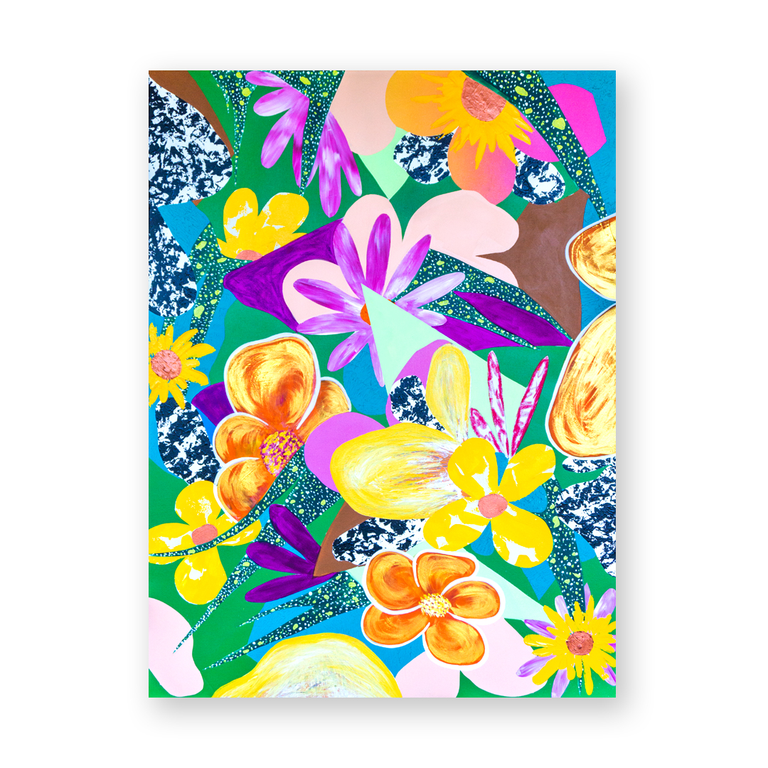 - Paradise foundacrylic, pastel, spray on canvas. 36x48. 2019