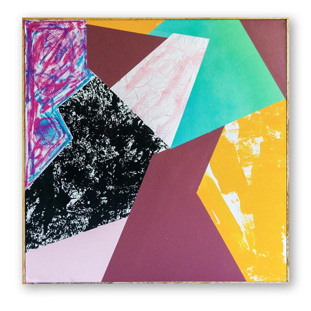 - Connectionacrylic, pastel, spray on canvas/framed 40x40. 2018