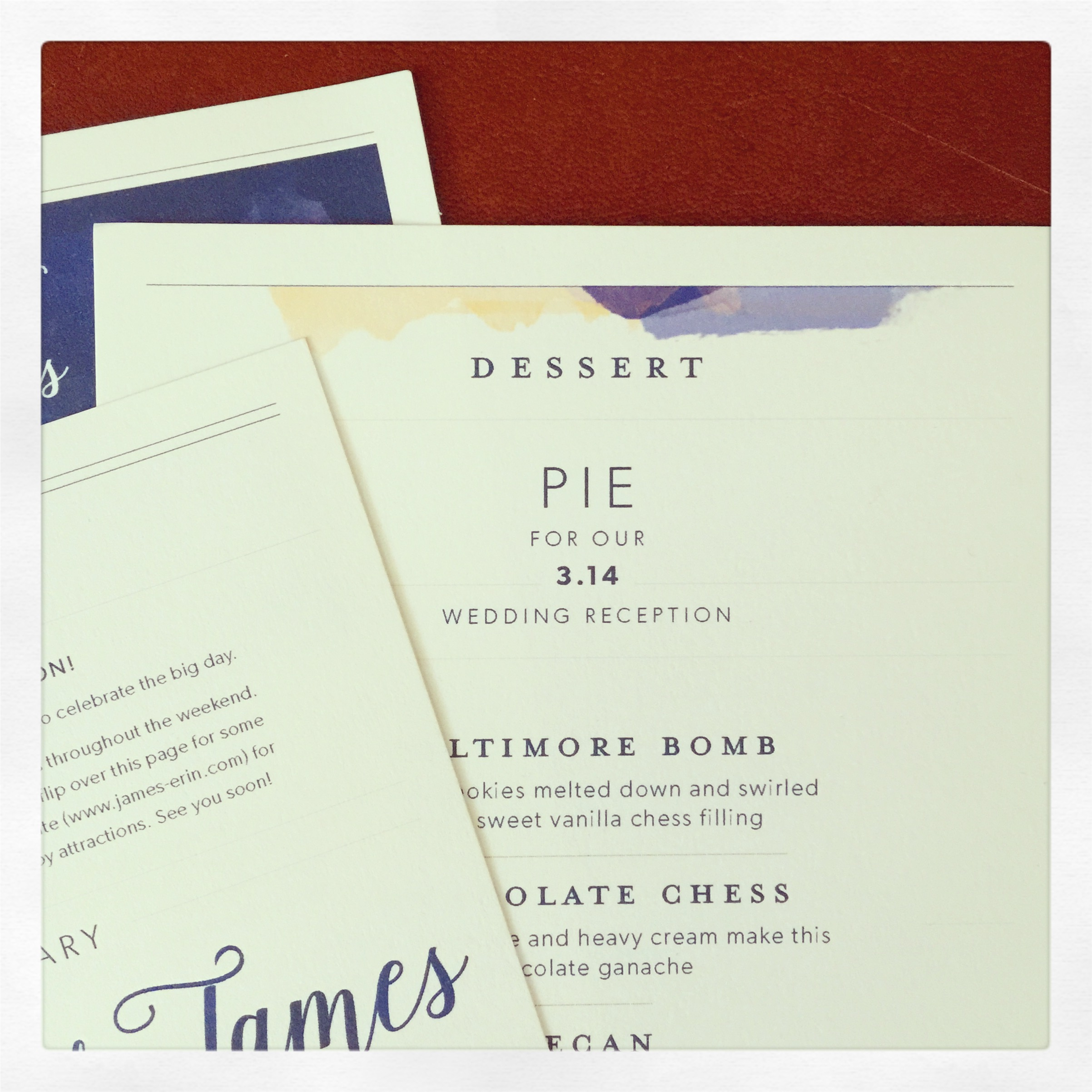 One of my adorably nerdy couples is getting married this weekend—because it's Pi Day! God, I love that.
