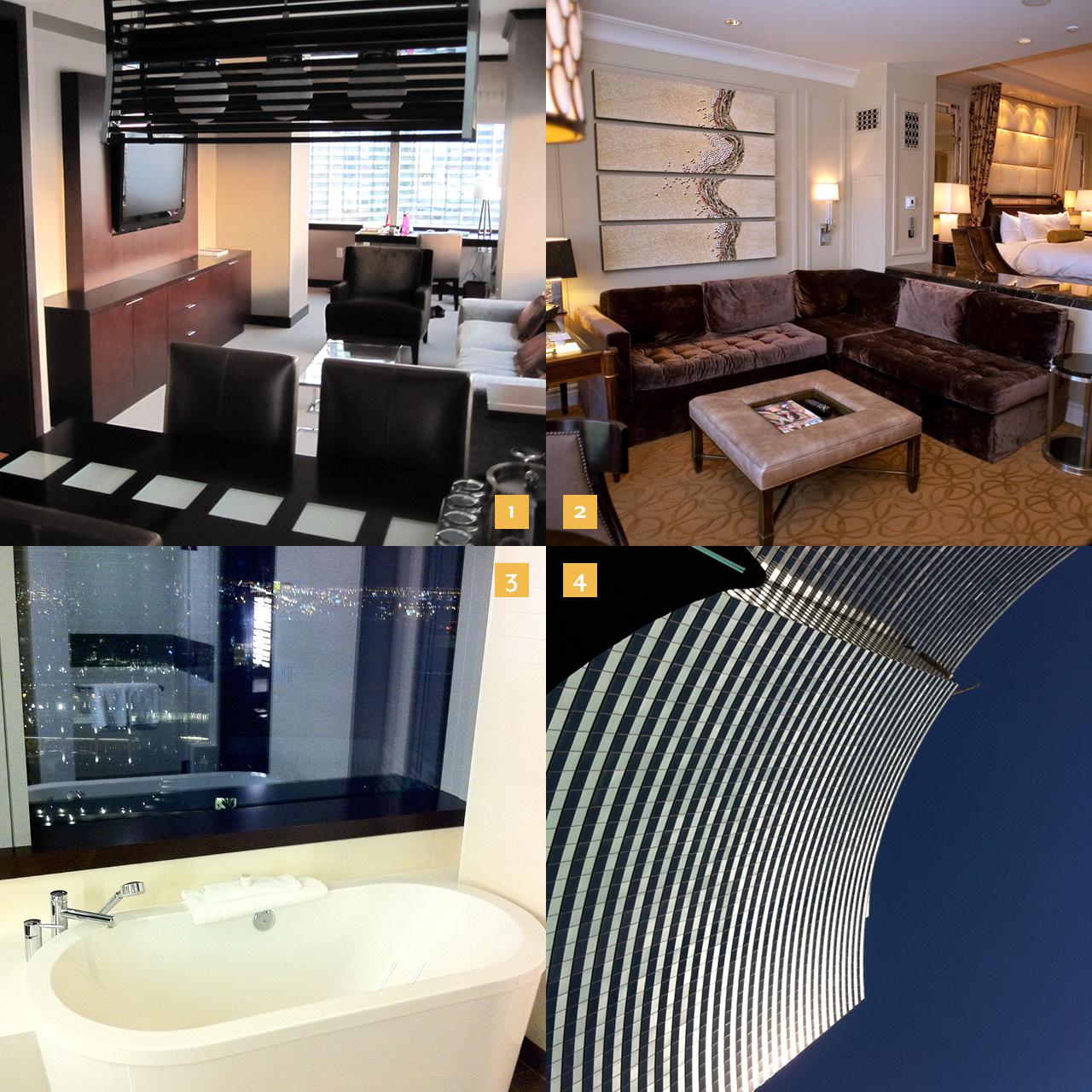 1. The Vdara 2. The Palazzo 3. The tub and 4. the view from the pool  at the Vdara.