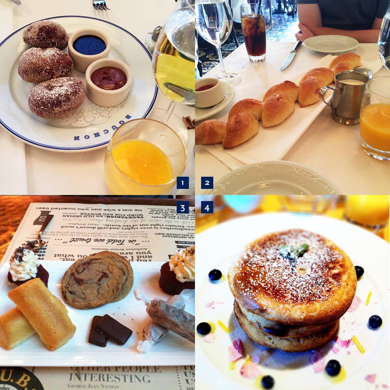 1. Cinnamon spiced beignets with Nutella and berry jam and 2) world's best baguette at Bouchon; 3. the desserts at P.U.B.; 4. lemon ricotta pancakes with rose water syrup at the Vdara's house restaurant.