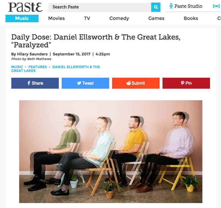 "Paste Premieres ""Paralyzed"" Music Video   The official music video for ""Paralyzed"" is premiering now over on  Paste . They call the song ""...instantly, urgently current.""  Watch the video and read the whole article here ."