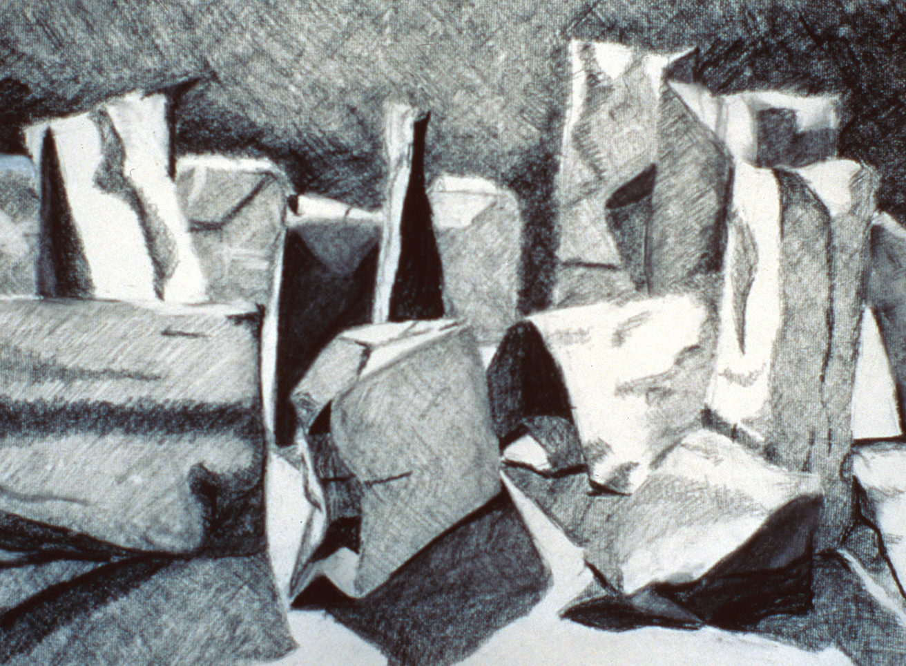 Surface Geometry through Value, Charcoal, Introduction to Drawing