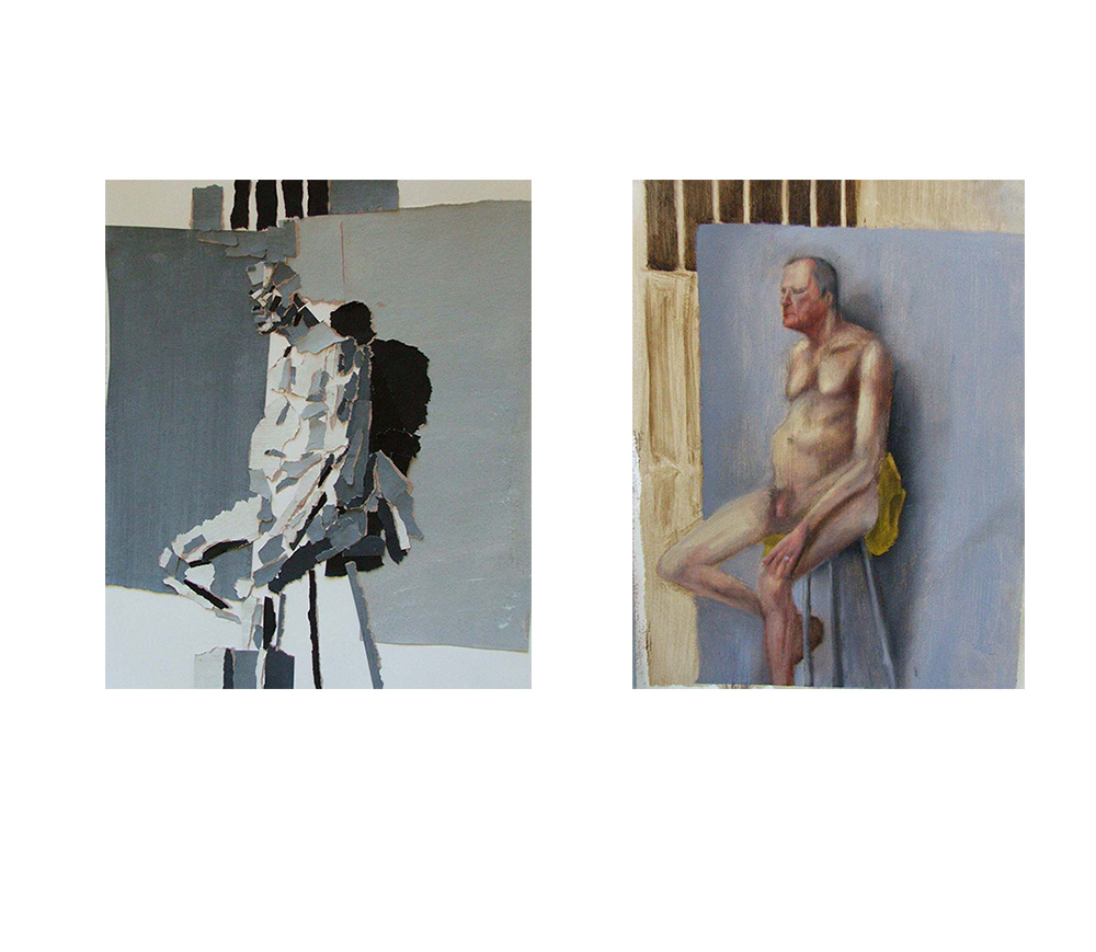 Value Scale Paper Collage + Figure Painting, Oil on panel, Advanced Painting