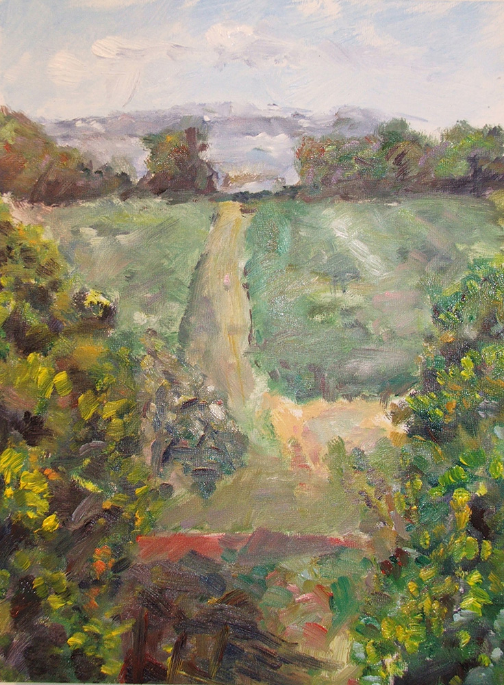 Mulberry Fields, Landscape, Oil on panel Advanced Painting
