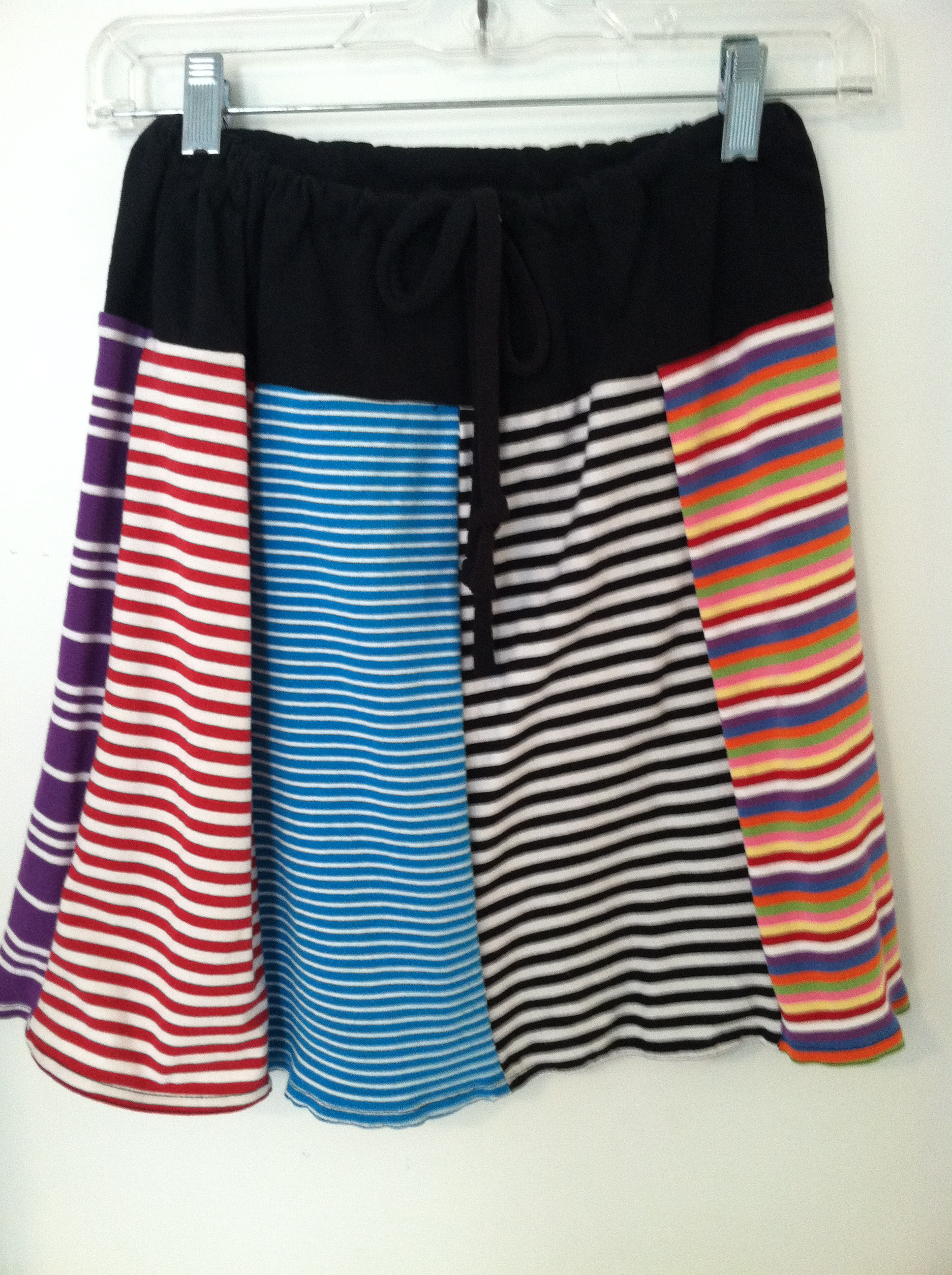 Example, above the knee Loveworn striped skirt from recycled polo shirts $45 XS-XL