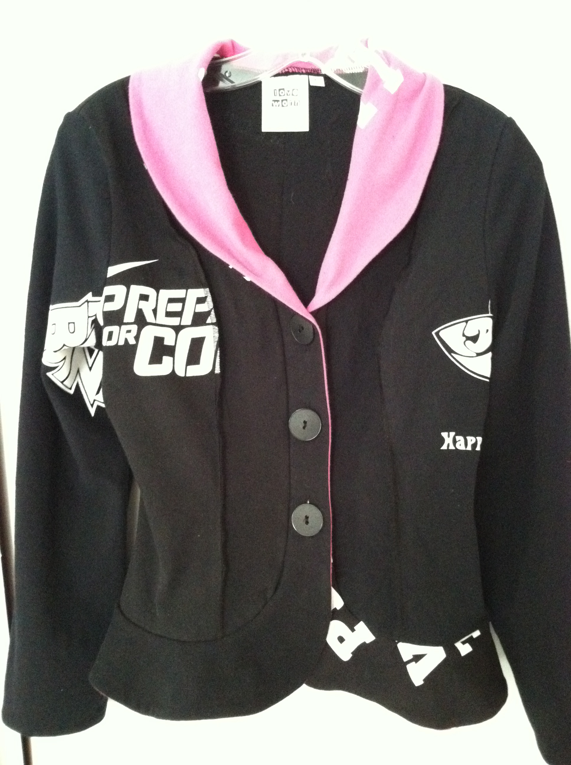 Example, Loveworn upcycled jacket, shawl collar, $59 XS-XL