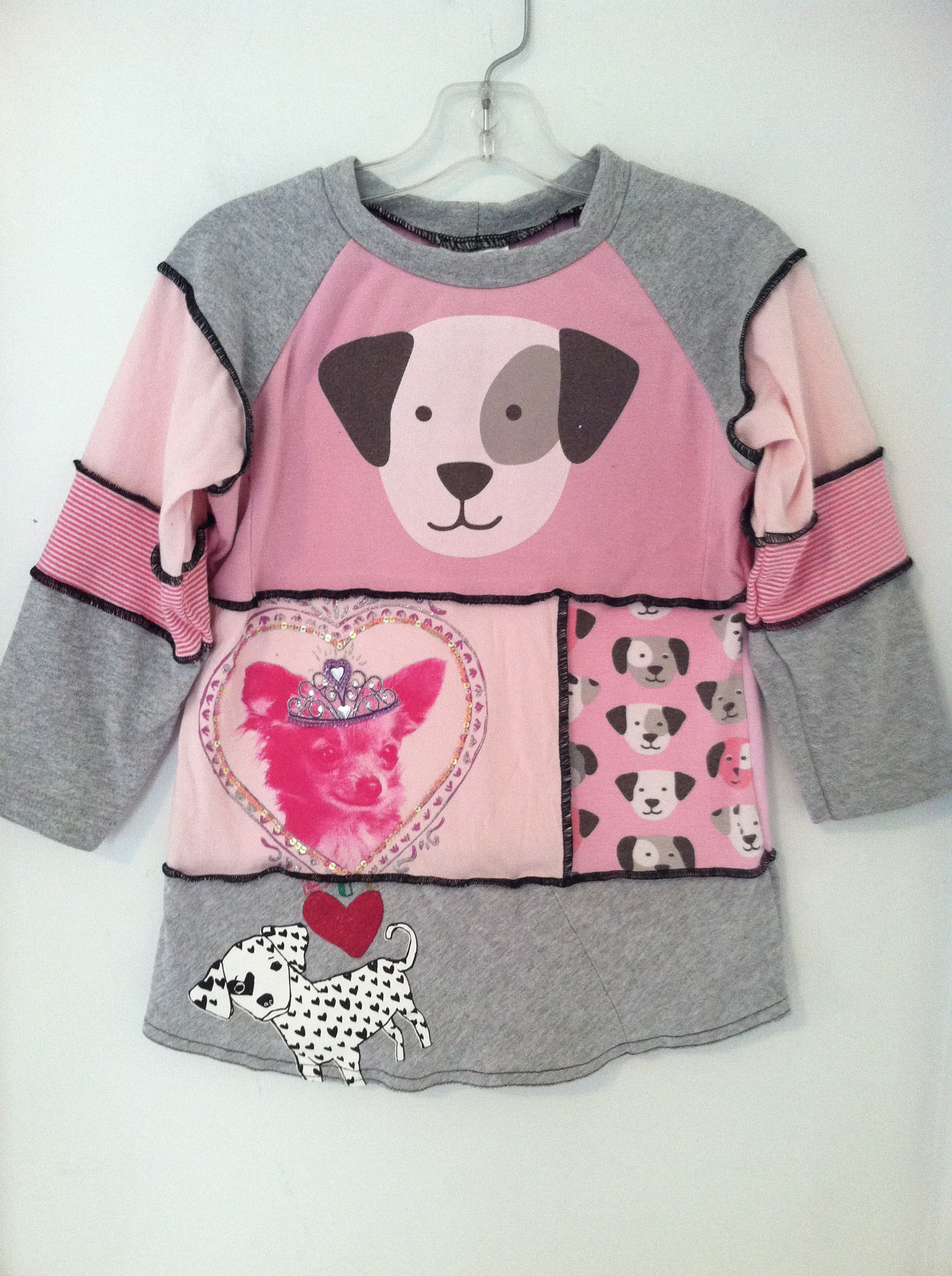 Child's shirt, made from 6 recycled t shirts, sizes xs 6-12mo,  s 18mo-2T, m 2-4, L 4-6, xl 8-10 $29