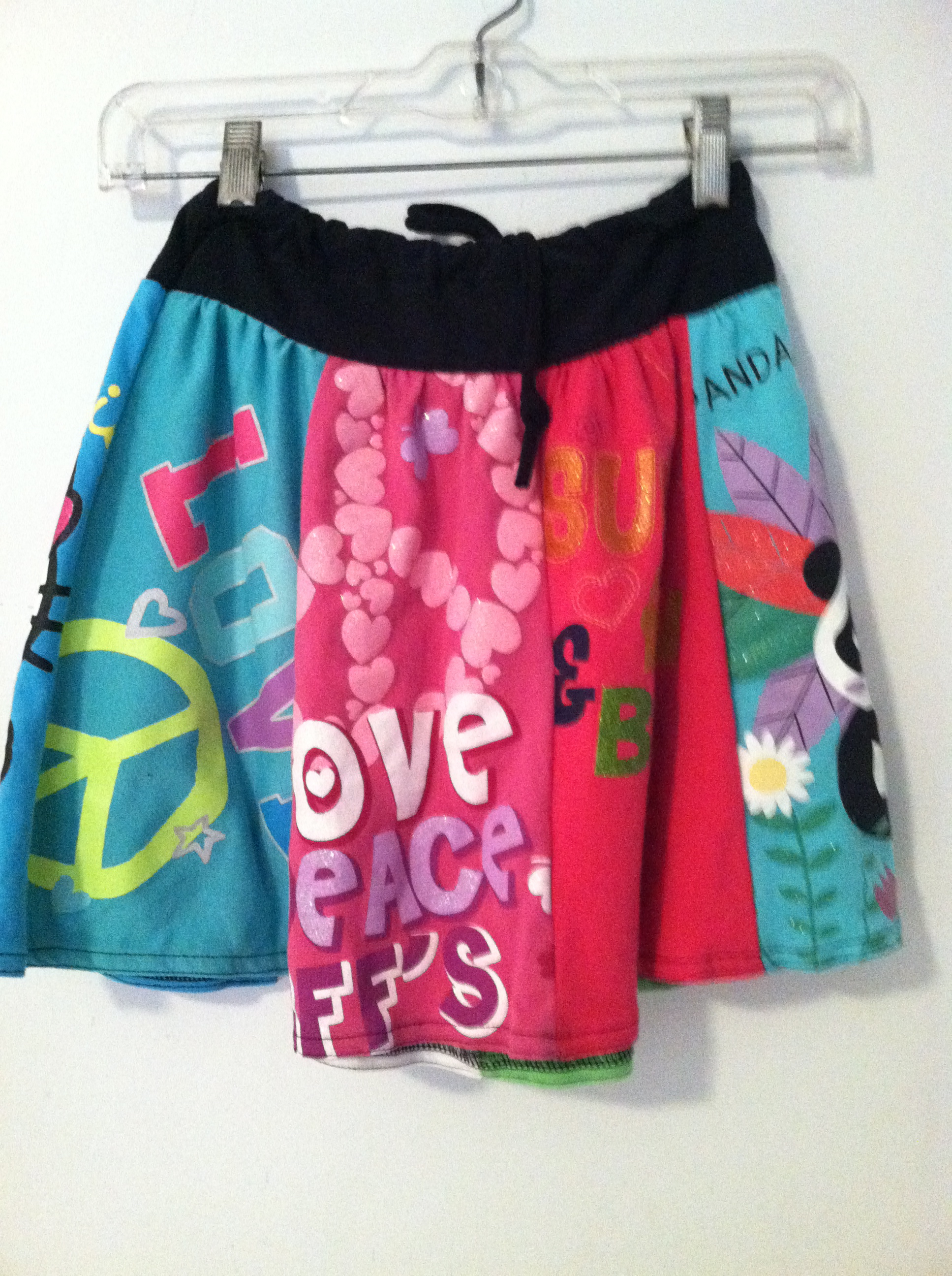 Child's skirt, upcycling 8 different t shirts, , sizes xs 6-12mo,  s 18mo-2T, m 2-4, L 4-6, xl 8-10 $29