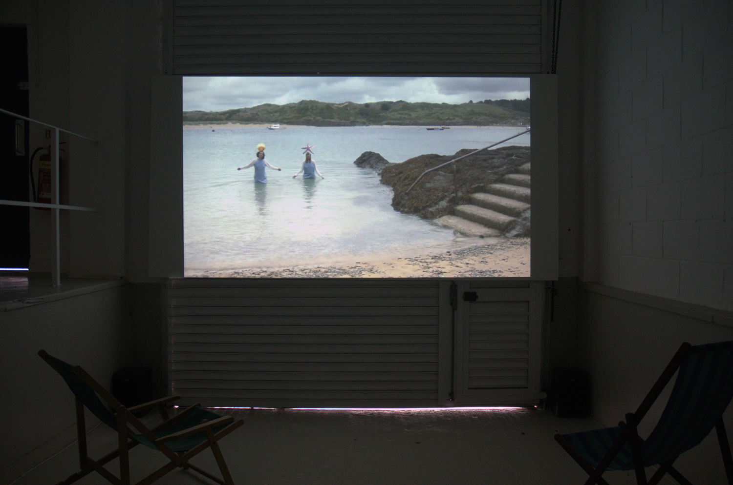 Installation view,[background] Lucy Stein and Shana Moulton, Polventon, 2013,Video,10:38 minutes