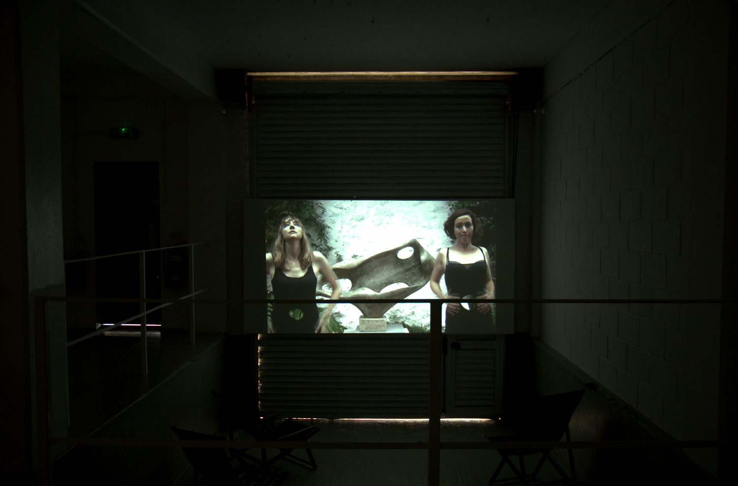 Installation view,[background] Lucy Stein and Shana Moulton, Polventon, 2013, video,10:38 minutes