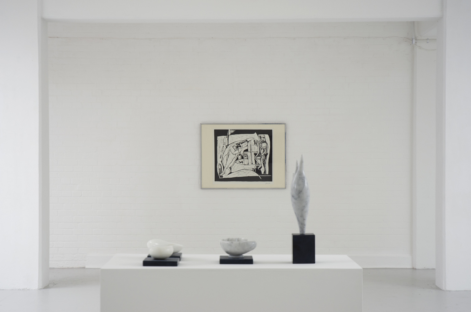 Installation view,[foreground] Edward Stein [various works], [background] Peter Lanyon,  The Returned Seaman , 1952