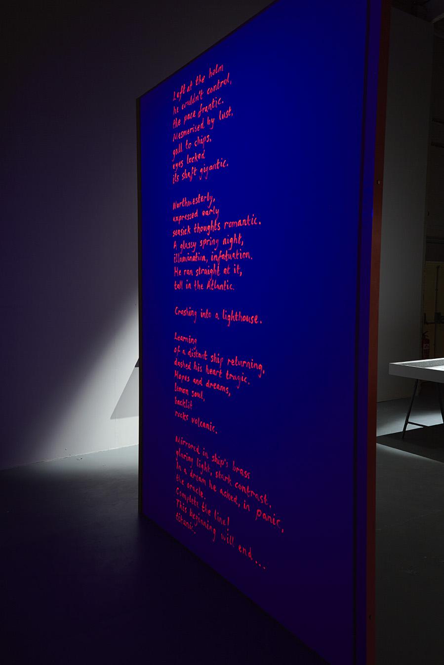 Frantic Romantic (darkroom poem)  [ read text here ], UV acrylic, height 280cm