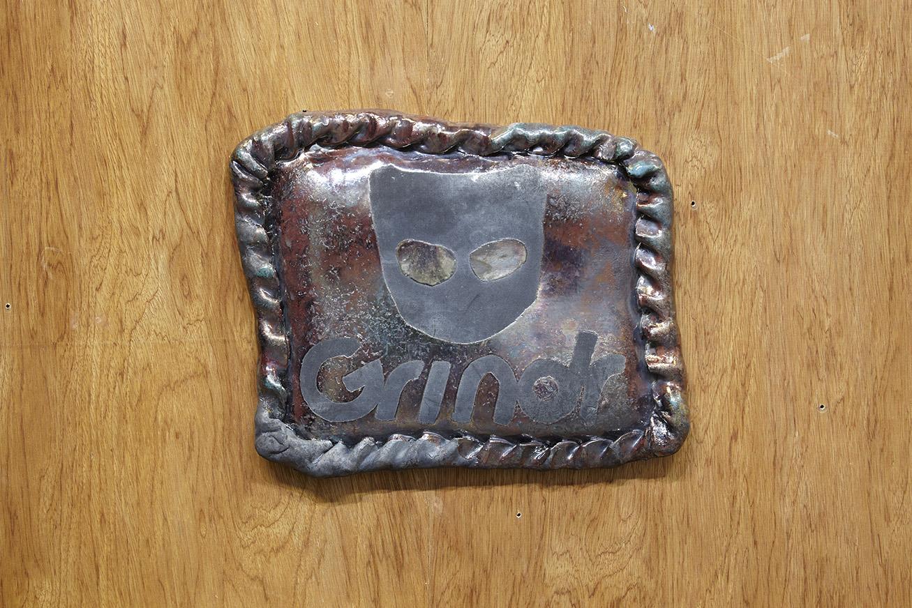Untitled (Grindr Pasty) , raku-fired stoneware, lustre glaze, 37 x 34 cm