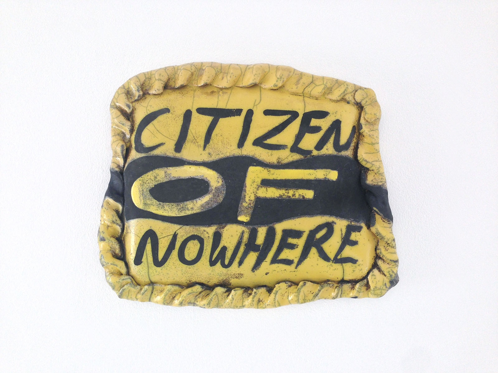 Untitled (citizen of nowhere pasty) , 2017, raku ware,26 x 31cm
