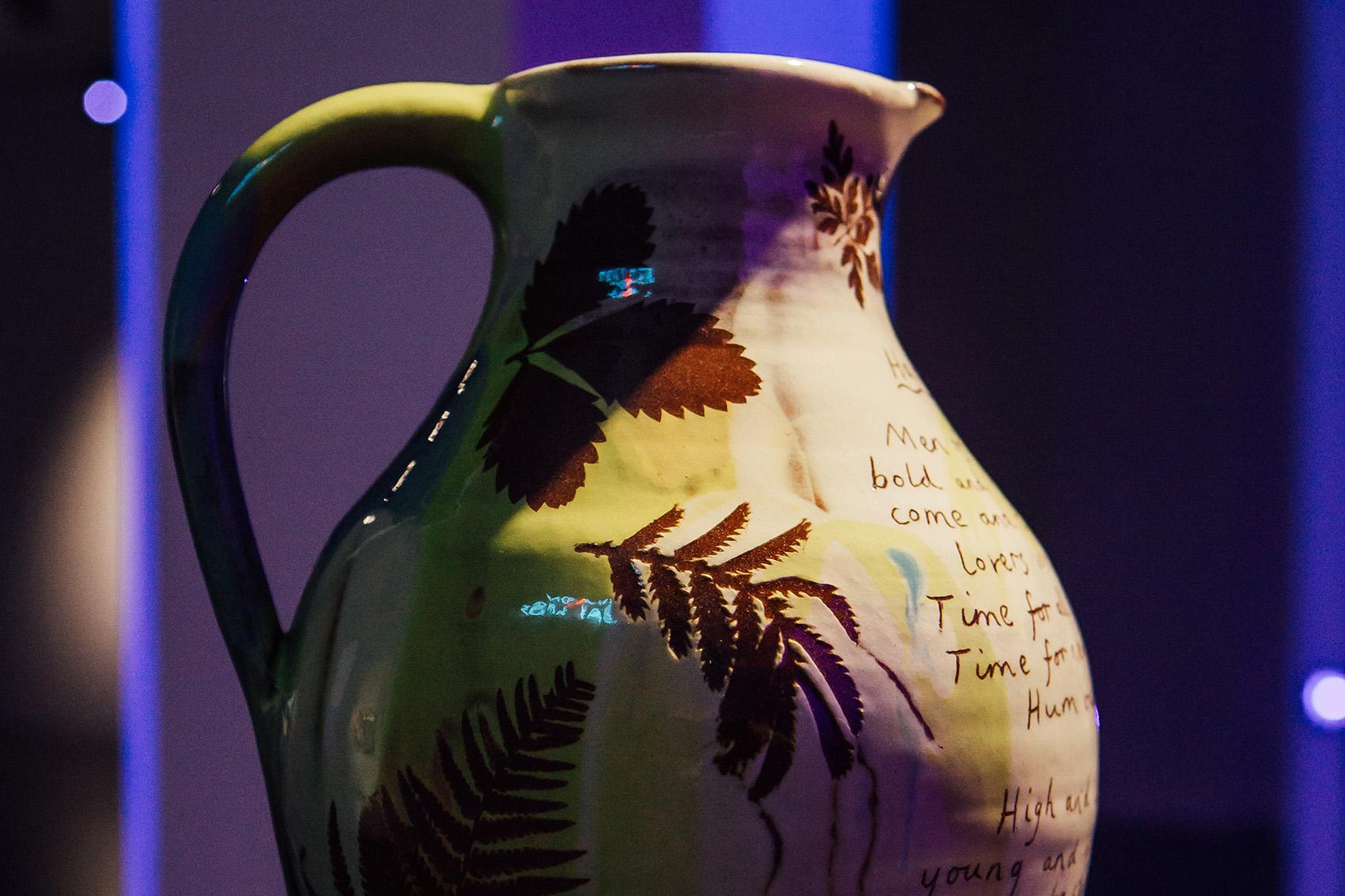 Detail:  Harvest jug , 2018, wheel-thrown terracotta, slips, transparent glaze