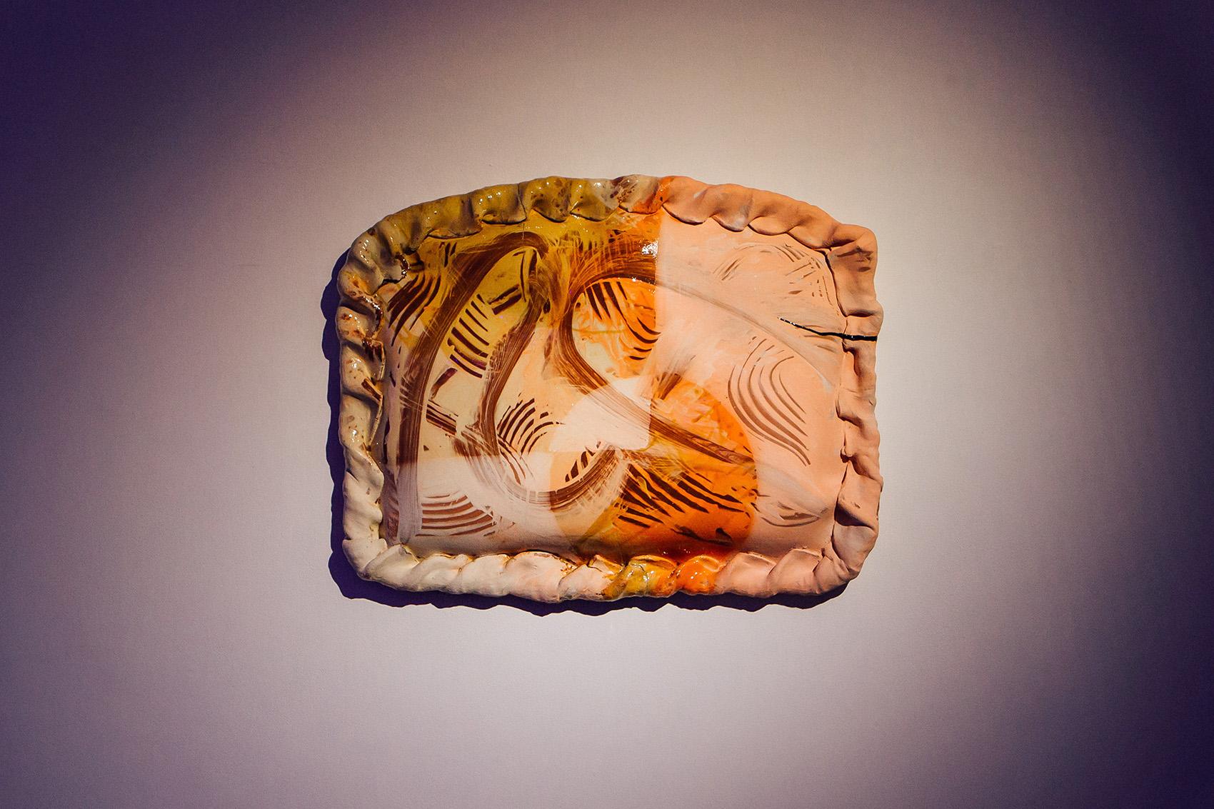 Untitled (XL metaphysical pasty) , 2018, slab-built terracotta, slips, transparent & honey glaze, black kintsugi repair, assistance from Ben Kew