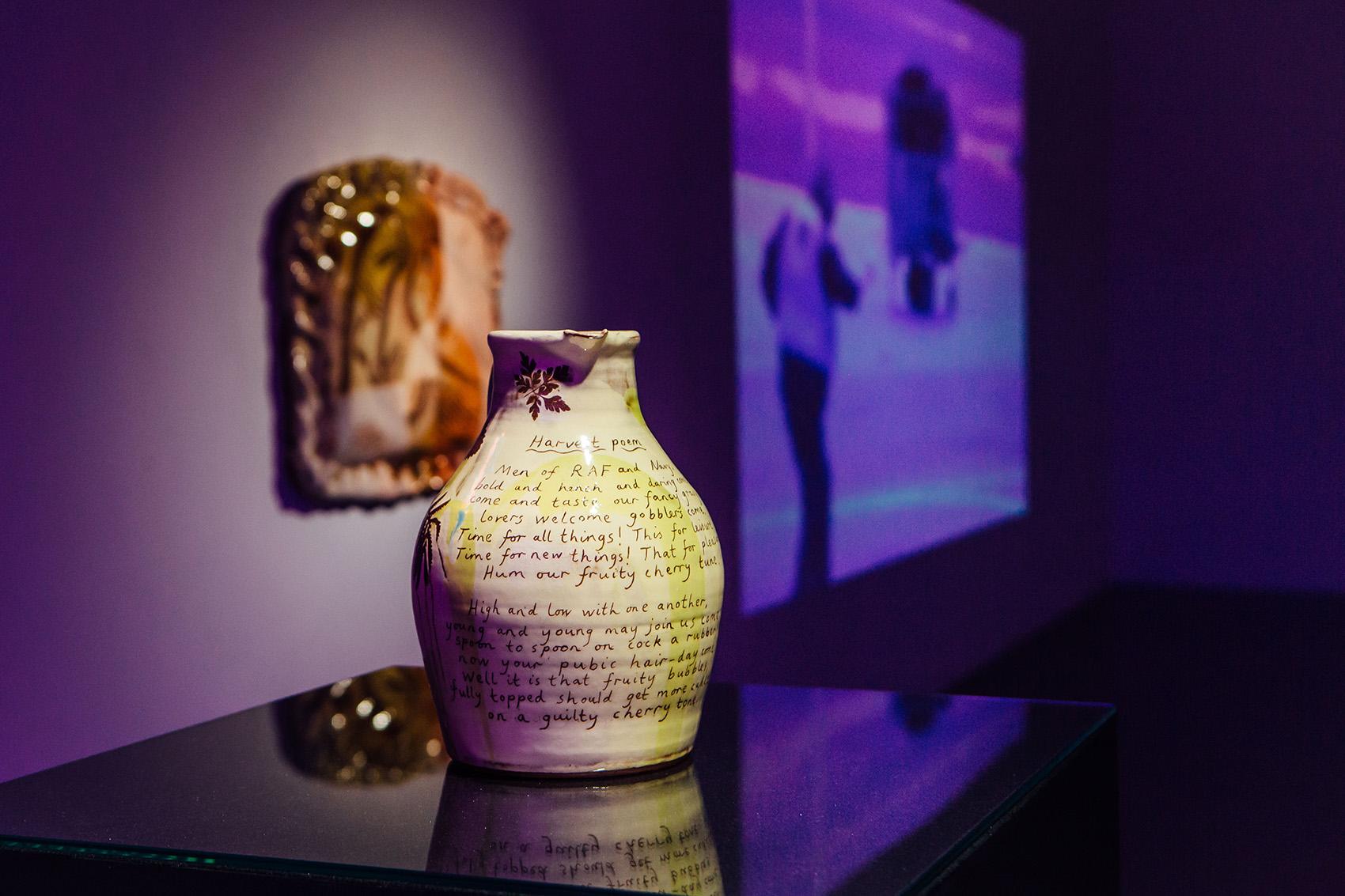 Harvest jug , [ read text here ] 2018, wheel-thrown terracotta, slips, transparent glaze