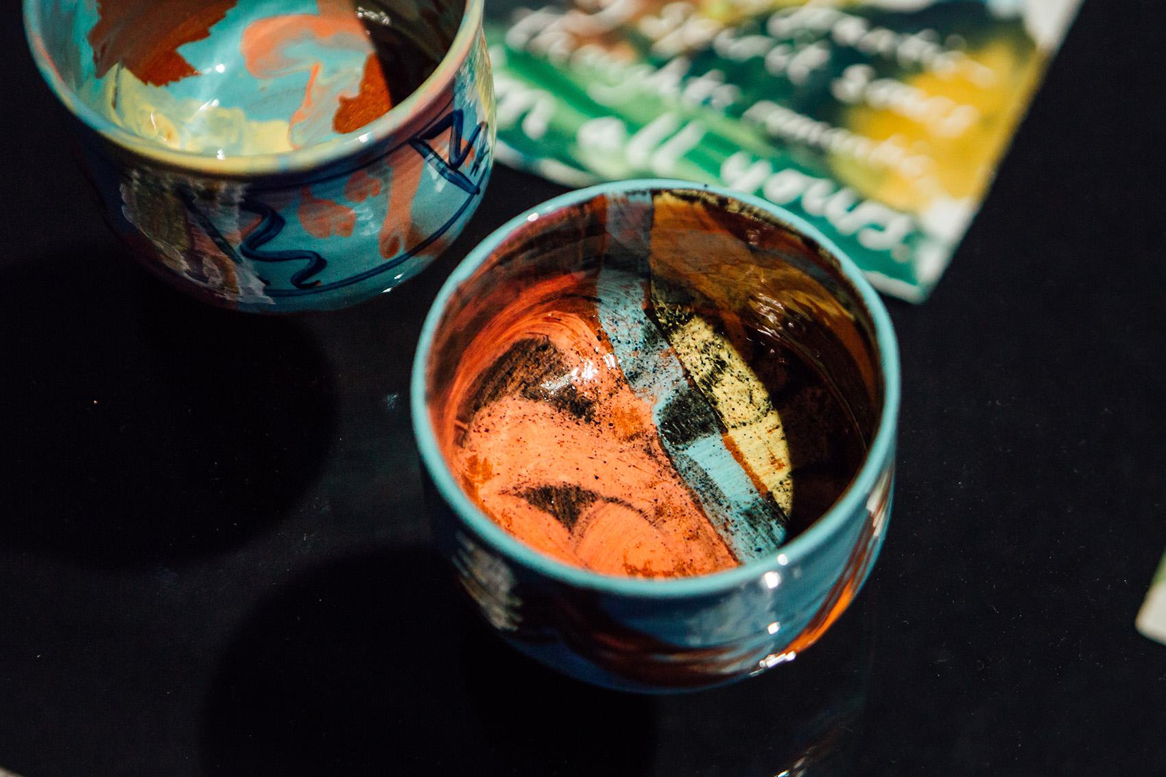 Details - left:  Tea bowl (named Miguel) ; right  Tea bowl (named Kazsushi)