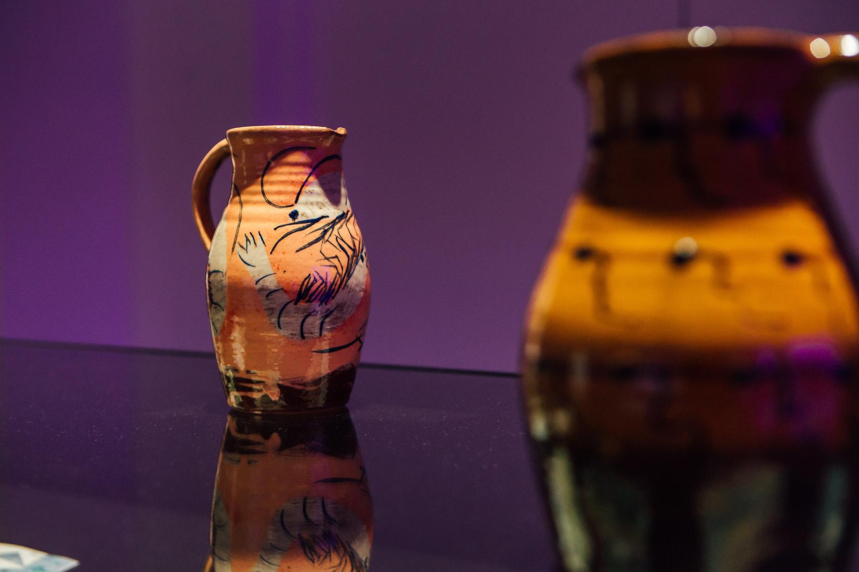 Shrimp jug , 2018, wheel-thrown terracotta, slips, oxide, transparent glaze