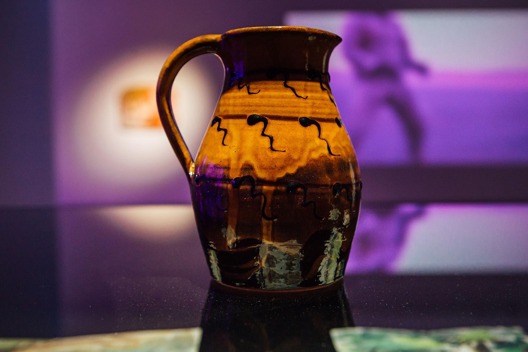 Sperm jug with honey glaze , 2018, wheel-thrown terracotta, slips, honey glaze