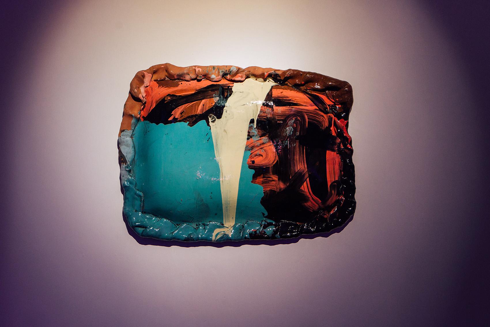 Untitled (XL action pasty) , 2018, slab-built terracotta, slips, transparent glaze, assistance from Ben Kew