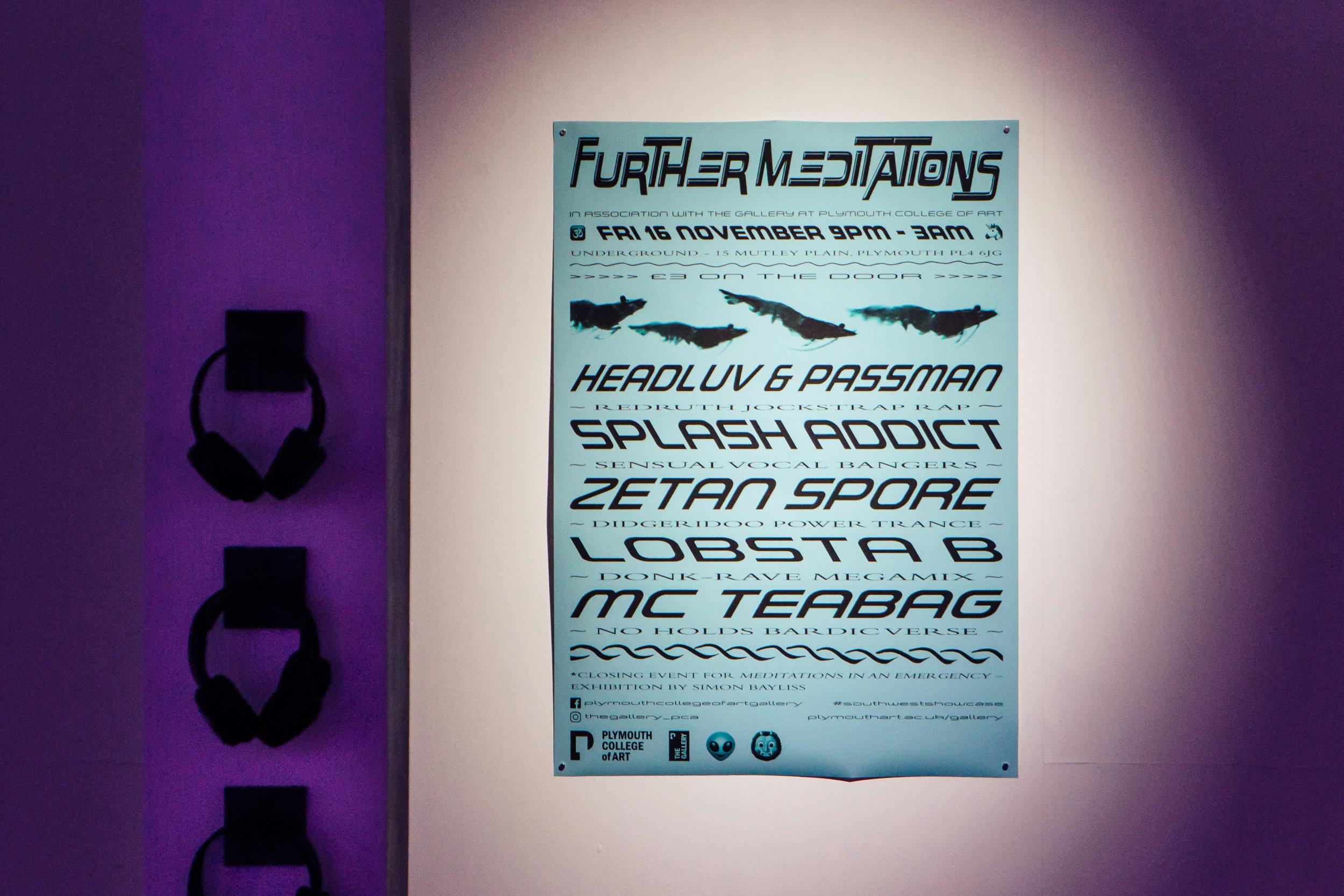 Further Meditations , 2018, poster design for event, inkjet print